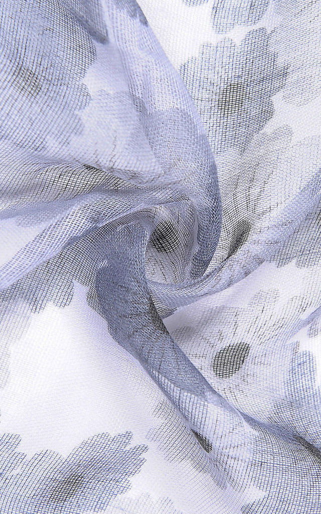 Intrigue Light Grey All Over Blossom Print Scarf by Xander Kostroma