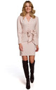 Mini Dress with Buttons and Wide Belt in Beige by Dursi