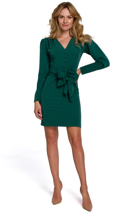 Mini Dress with Buttons and Wide Belt in Green by Dursi