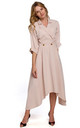 Midi Length Wrap Dress with Decorative Buttons in Beige by Dursi