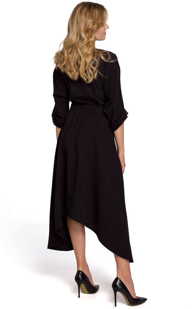 Midi Length Wrap Dress with Decorative Buttons in Black by Dursi
