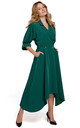 Midi Length Wrap Dress with Decorative Buttons in Green by Dursi