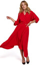 Midi Length Wrap Dress with Decorative Buttons in Red by Dursi