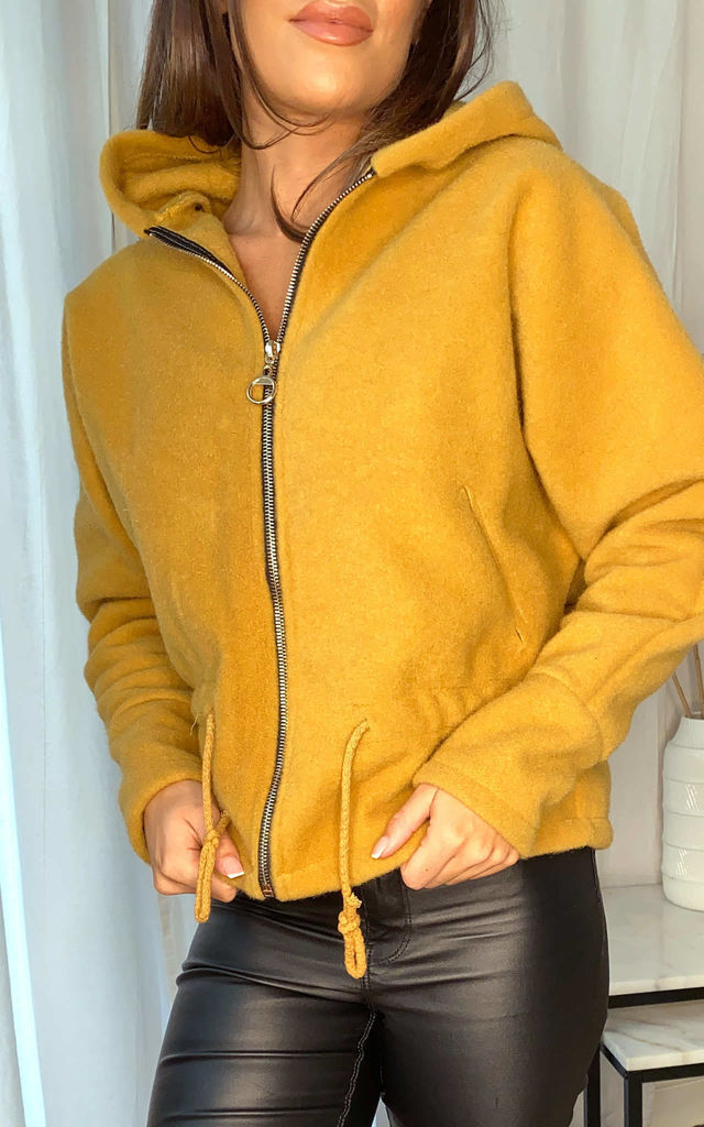 Mustard zip through textured hoodie with draw cord and pull ring zip by Off The Railz
