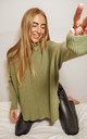 Hope Khaki Knitted Oversized High Neck Jumper by Style Cheat