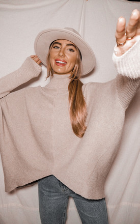 Hope Oversized High Neck Knitted Jumper in Beige by Style Cheat