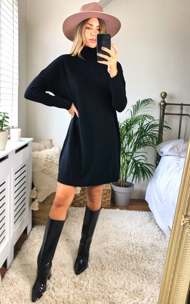 Knitted Tunic With Rollneck In Black by VILA Product photo