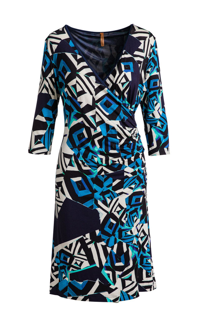 Abstract Print Crossover Dress by Conquista Fashion