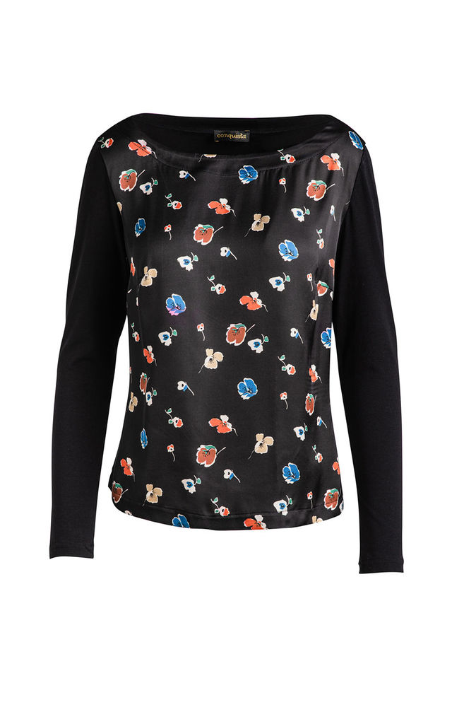 Poppy Print Long Sleeve Top by Conquista by Conquista Fashion