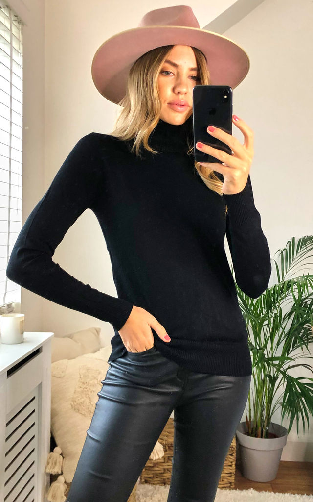 Cashmere Polo Neck Knit in Black by KURT MULLER