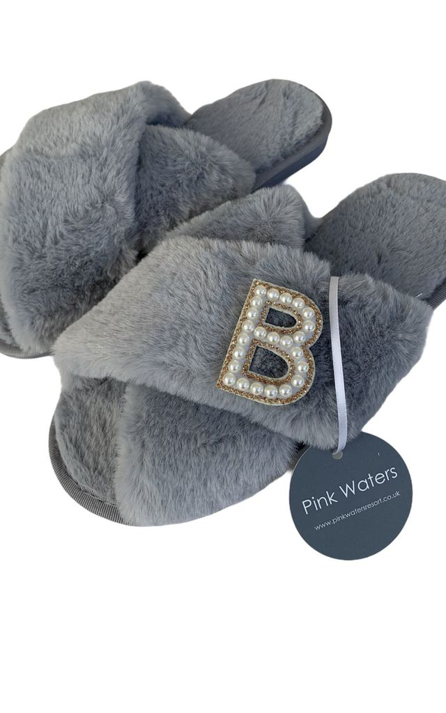 Fluffy Faux Fur Personalised Slippers - Grey by Pink Waters Resort