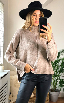 Roll Neck Knitted Top in Beige by Noisy May