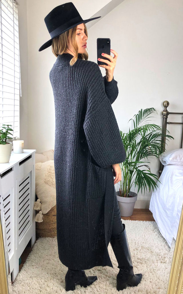 Maxi Knitted Cardigan With Balloon Sleeves in Dark Grey by Noisy May