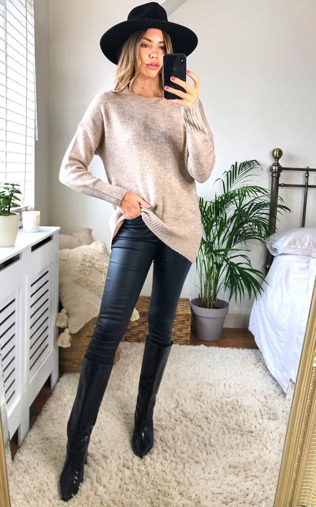 Knitted High Low Jumper in Beige by ONLY