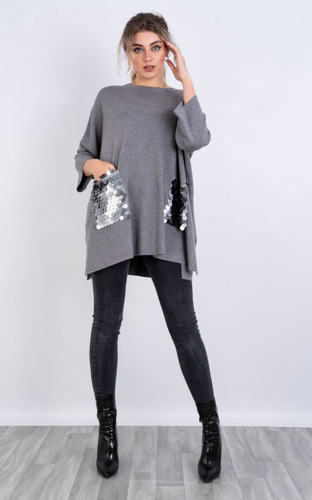 Long Sleeve Jumper Sequin Pockets (Grey) by Lucy Sparks