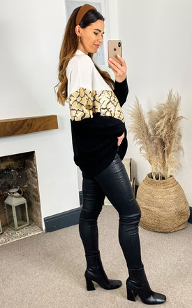 Sequin Detailed Jumper in Black and White by Bella and Blue
