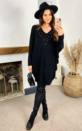 Embellished Batwing Top In Black by Bella and Blue Product photo
