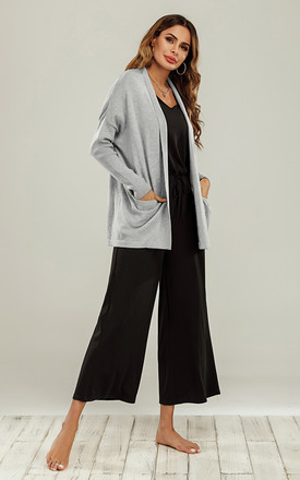 Wool Blend Classic Open Cardigan In Silver Grey by FS Collection