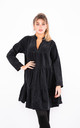 Cotton Ruffle Trim Shirt Dress (Black) by Lucy Sparks