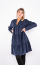Cotton Ruffle Trim Shirt Dress (Navy) by Lucy Sparks