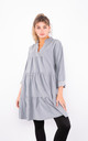 Cotton Ruffle Trim Shirt Dress (Grey) by Lucy Sparks