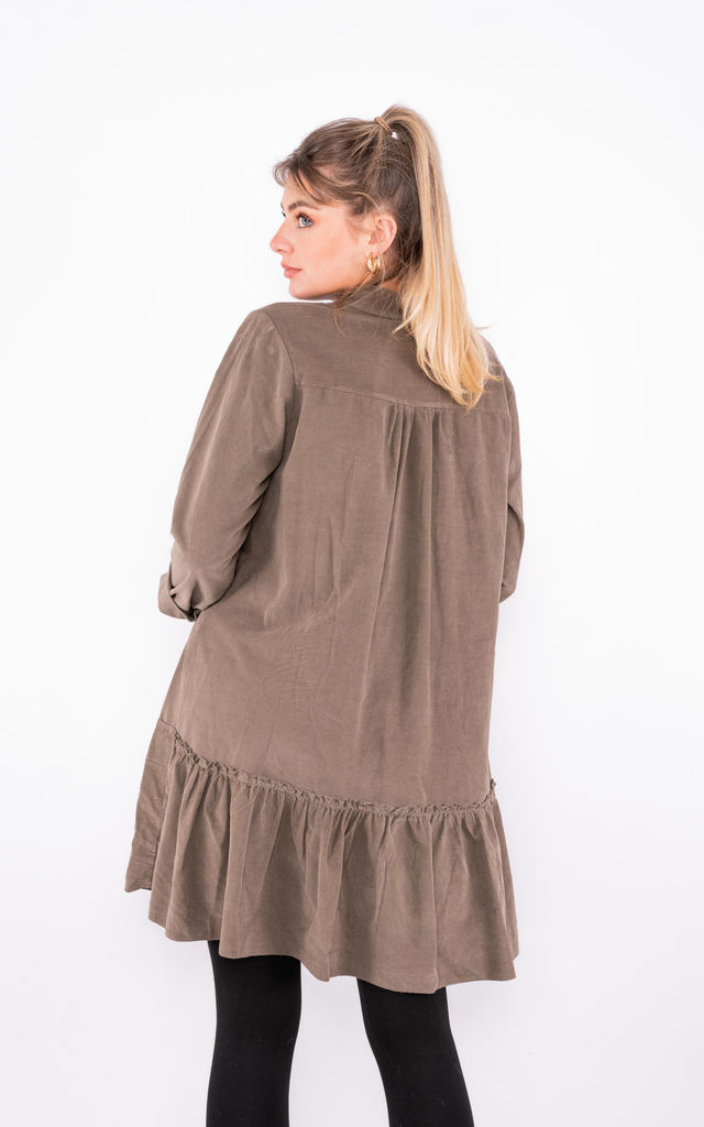 Cotton Ruffle Trim Shirt Dress (Taupe) by Lucy Sparks