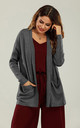 Wool Blend Classic Open Cardigan In Charcoal Grey by FS Collection