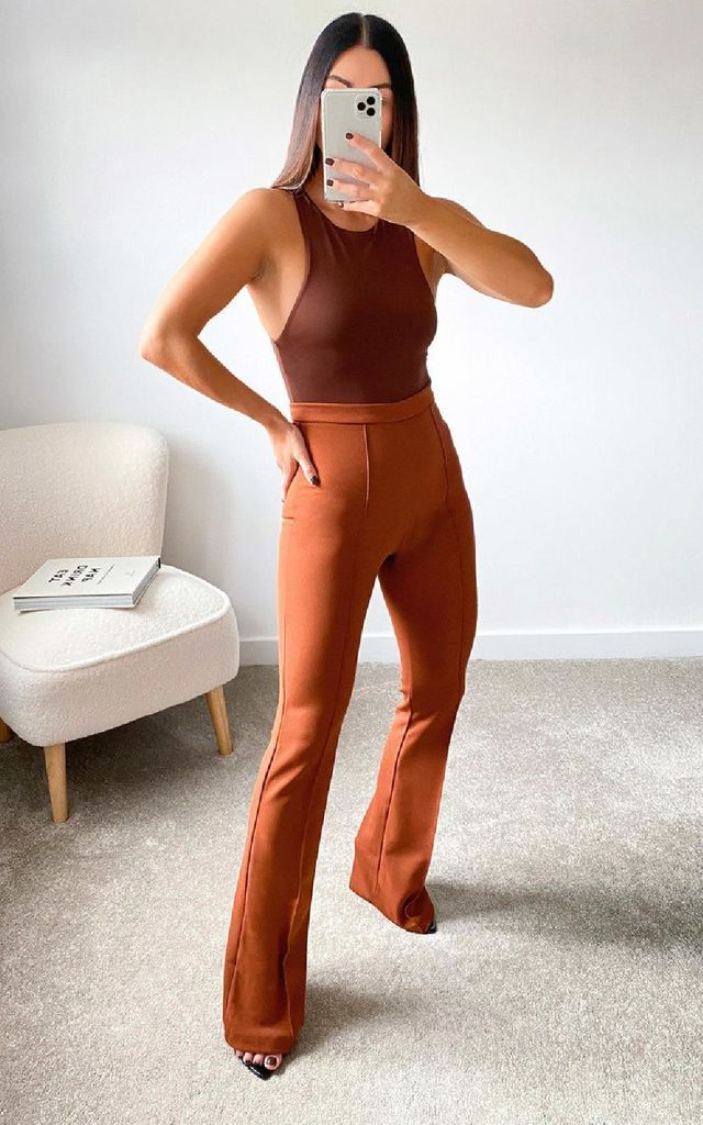 Nina High Waist Trousers in Camel by IKRUSH