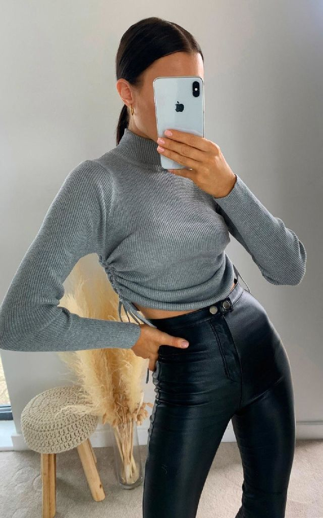 Lora Ribbed Crop Top in Grey by IKRUSH