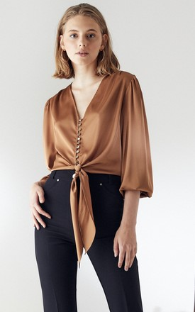 Wrap crop Top/Blouse with Puff Sleeves in Gold camel colour by Explosion London