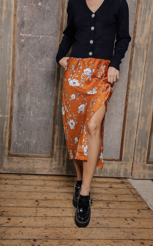Floral Print Satin Look Side Slit Slip Skirt by Sugar + Style