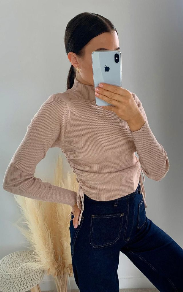 Lora Ribbed Crop Top in Camel by IKRUSH