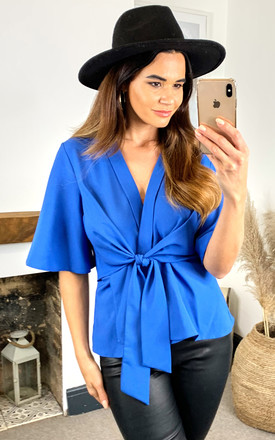 Kimono Knot Top In Azure Blue by Bella and Blue Product photo