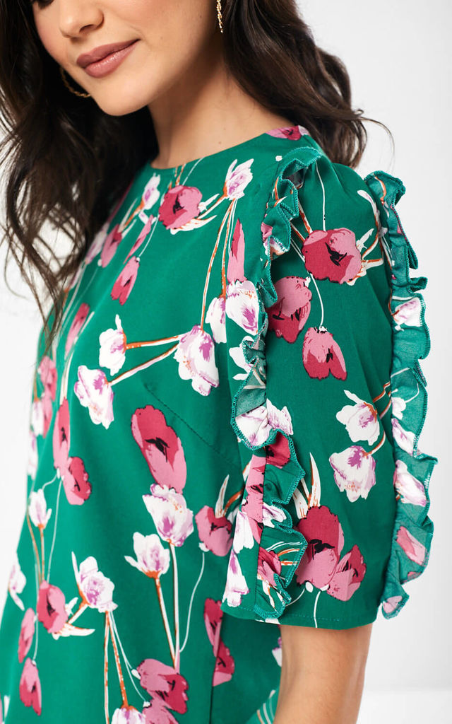 Ayla Floral Print Top in Green by Marc Angelo