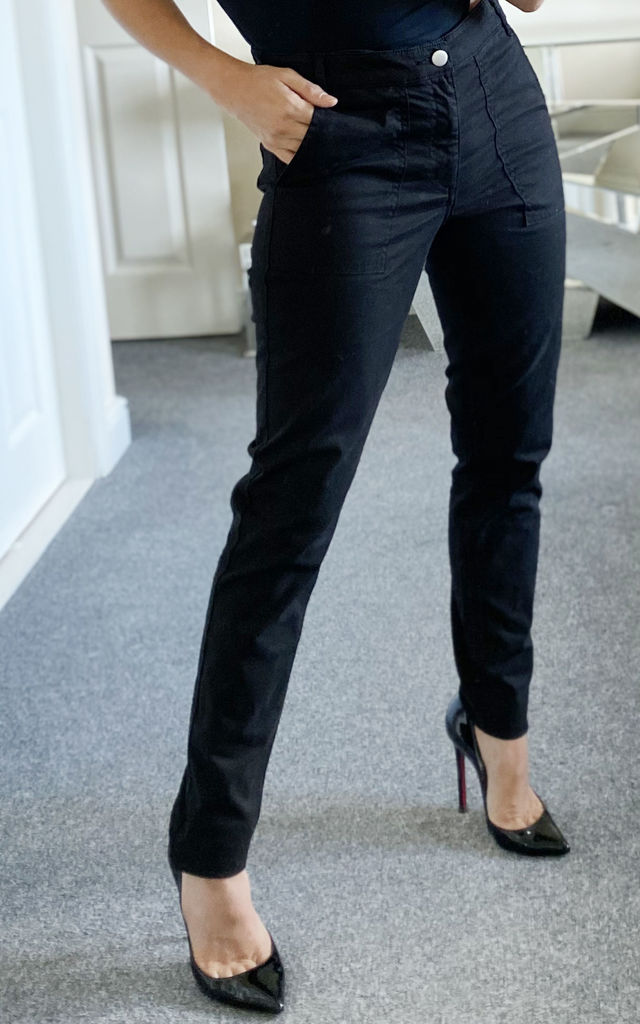Black Skinny Denim Trousers by KRISP