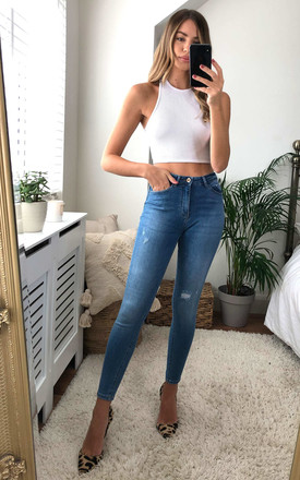 High Waisted Skinny Jeans With Distressed Detail In Blue by ONLY Product photo