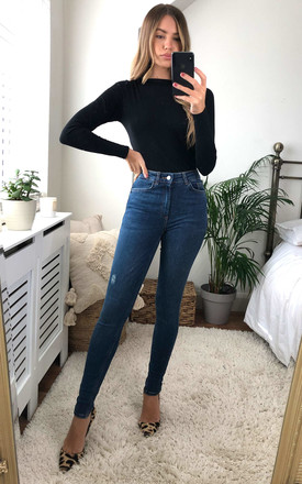 Medium Blue High Waisted Denim Skinny Jeans by Pieces Product photo