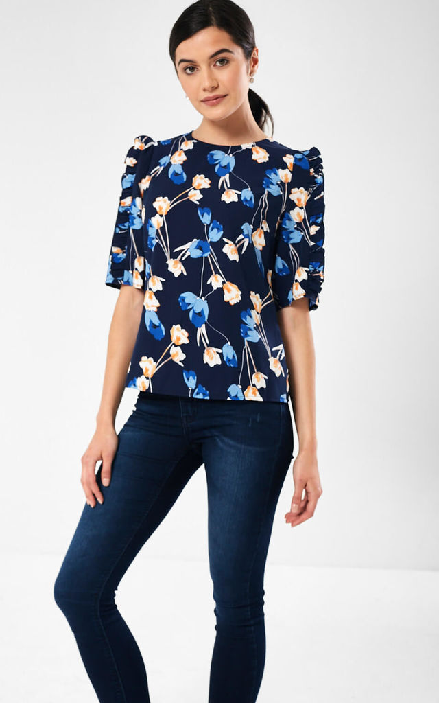 Ayla Floral Print Top in Navy by Marc Angelo