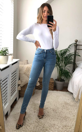 Light Blue Denim Mid Waist Skinny Jeans by Pieces Product photo