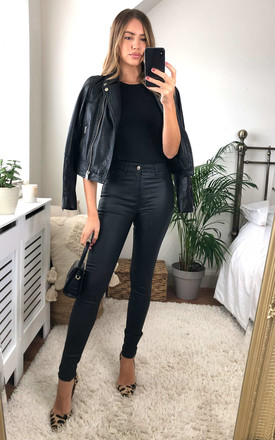 Coated Skinny Trousers in Black by ONLY