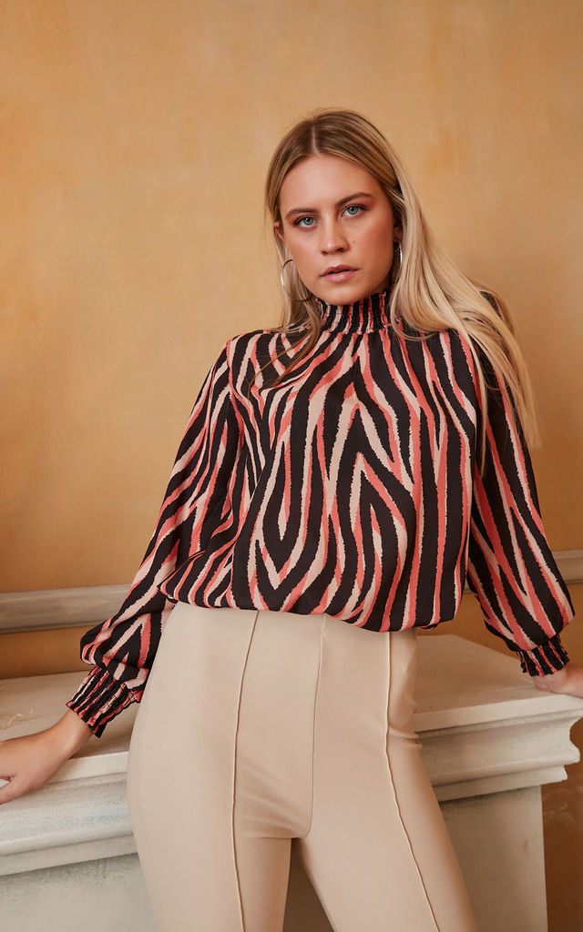 High neck Long Sleeves Oversized Top in Coral Zebra print by Jenerique