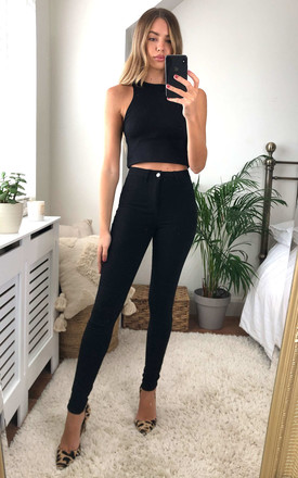 High Waist Skinny Jeans in Black by Noisy May