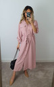 Delilah Pink Button Maxi Shirt Dress by GIGILAND UK