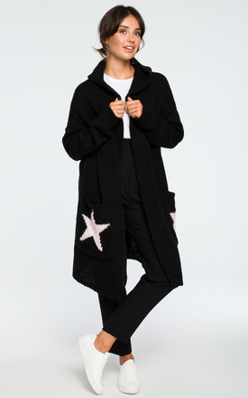 Hooded Star Longline Cardigan Black Pink by MOE Product photo