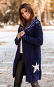 Hooded Star Longline Cardigan Navy Blue by MOE