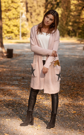 Hooded Star Longline Cardigan Pink by MOE Product photo