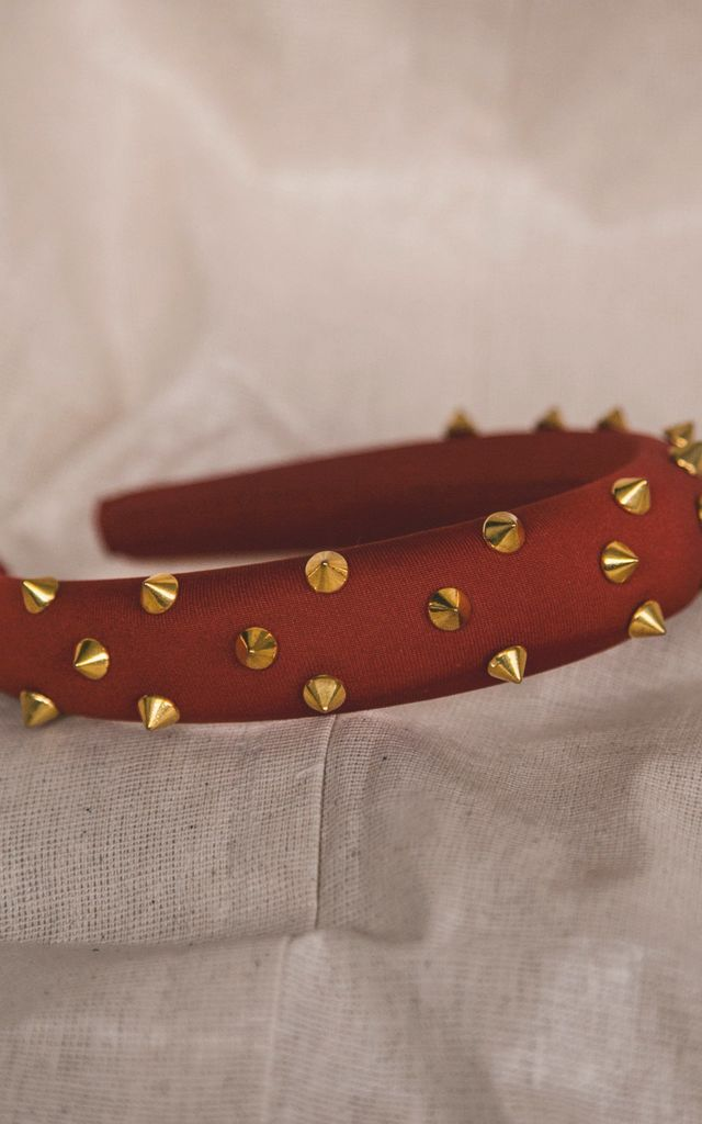Roxy Gold Spike Headband - Red by Luna Charles
