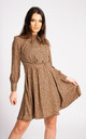 Brown Leopard Printed Long Sleeve Skater Dress by LOVE SUNSHINE