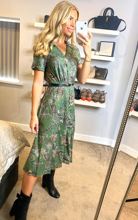 Green Paisley Shirt Dress With Belt Green by Yumi