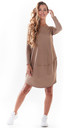 Loose Mini Dress with Long Sleeve in Beige by AWAMA